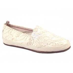 SCARPE DONNA O-JOO ESTATE 16121 98  SLIPPY MACRAME OFF WHITE