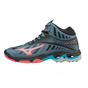 SCARPE VOLLEY PALLAVOLO DONNA MIZUNO  V1GC1805 65  WAVE LIGHTNING MID WOS BLUE/MIRAGE/FIERYCORAL/BLACK