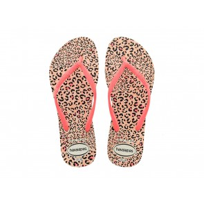 CIABATTE INFRADITO DONNA HAVAIANAS ESTATE 4103352 6577  SLIM ANIMALS WHITE/CORAL NEW