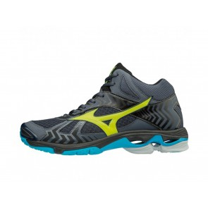 SCARPE PALLAVOLO VOLLEY UOMO MIZUNO  V1GA186547  WAVE BOLT 7 MID OMBRE BLUE/SAFETY YELLOW