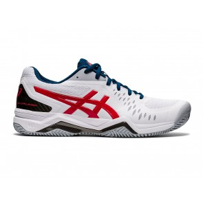 SCARPE TENNIS UOMO ASICS  1041A048 117  GEL CHALLENGER 12 CLAY WHITE/CLASSIC RED