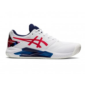 SCARPE TENNIS UOMO ASICS  1041A289 110  GEL CHALLENGER 13 CLAY WHITE/CLASSIC RED